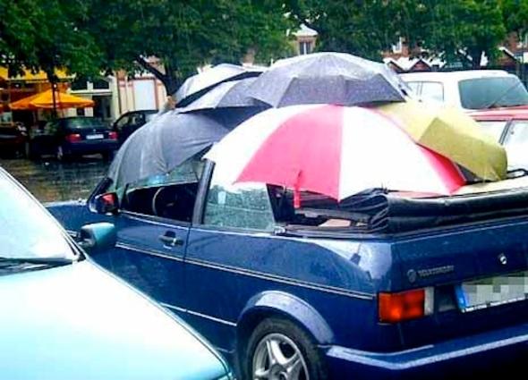 convertible in rain